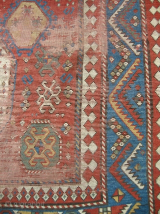 A fine antique Kazak, fine red wefted c1860. Ends have some of the original kilim but the sides have lost the original selvage. The rug has no repairs or holes but is  ...