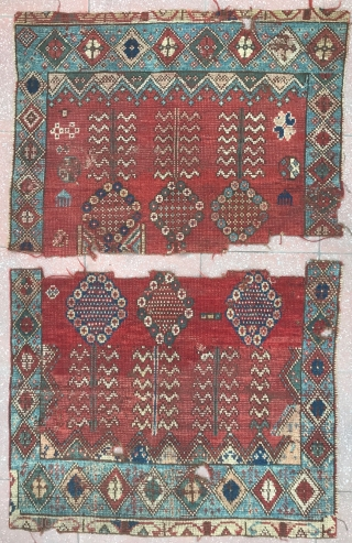 Two fragments from an early Rabat carpet , really Beautiful and Very Rare ! Circa : 1800 or before ?  Size of each : 85x65cm and 85x73cm , condition as photos here  ...