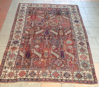 summer sale : A shekarlou Qashqayi in bad condition ( to restore ) some old reparrs on ! but nice fild color ! Size : 220x160cm