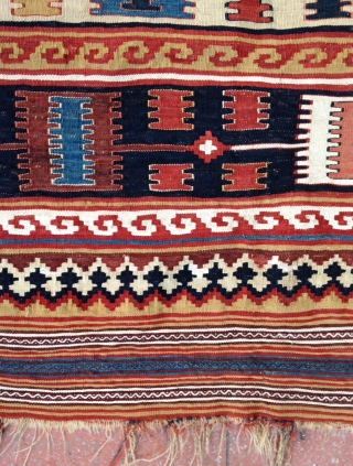 Charming Qashkai Kilim ,  Beautiful graphic and good condition except some very small damaged places as in Photos . Some cotton highlights . Size : 233x160 Circa : 19th.