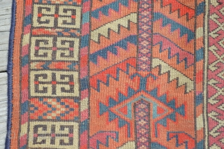 Antique Turoman Tekke engsi.  Likely end of 19th C., possibly early 20th.  Overall wear and some end loss.  A great carpet to actually use. Old enough to be appreciated,  ...