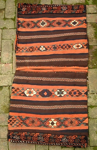 Kurdish Khorjin-- 24 x 24 in. (each)--This is a true pair;  they were originally joined together and used as double saddle bags then latercut apart and used as pillows. The natural  ...