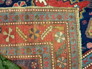 Kazak.  5 ft 2 inch x 8 ft-- Nice larger size. I think circa 1900 Period. Dynamic three medallion design and great colors. A bit of foundation spots-- mainly via brown  ...