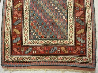 Caucasian- Azerbeijan Runner-- 3 ft 9 x 13 ft-- Beautiful archaic piece. I'd say 4th quarter 19th cent. Old and well traveled. Condition pretty decent with even pile; a smattering of exposed  ...