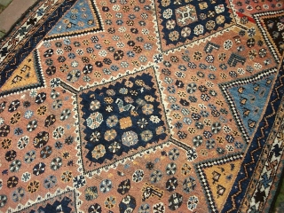 Khamsa Confed-- 3 ft 8 x 6 ft 6.  South Persian Tribal design and motifs. A strong interesting abrash but mainly soft colors. Well used but decent condition. $25 UPS shipping  ...