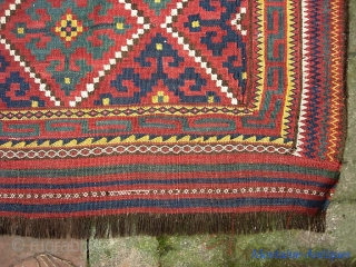 Uzbek (?) bag face-- 31 x 31 inches. Fine weave; terrific old colors. Excellent age. $20 UPS shipping to lower 48