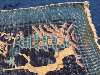 """10'x 13'6"""" 1920's Chinese carpet with wear. Nice rug"""