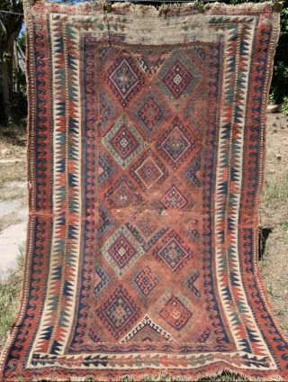 Three old Turkoman Chuvals in various degrees of condition, and one 4'x 6' Jaff Kurd. More pics and sizes of Turkomans available upon request. Selling all 4 as a package deal. Thanks