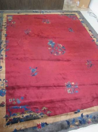 "nice old Chinese carpet measuring 11'6""x 9'.  full pile.  has a couple of spots."