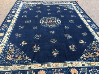 "Old Chinese carpet with some light scattered wear measuring 8'10""x 11'3"" woven with glossy, organic wool. Nice Carpet!"