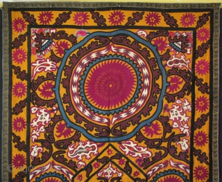 "Uzbekistan, Jizzak Suzane. It is made as a curtain. Traditional Jizzak Amulets on corners and embroidery in their style. Great condition and colors. Size: 59"" x 87"" (150cm x 220cm)."