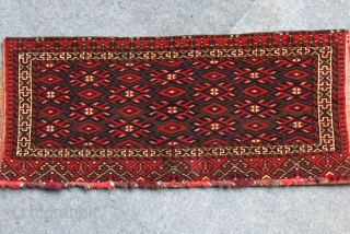"""Turkmen Goklan torba.. Cotton Wefts, traditional saturated colors and motifs with tight weave. Circa 1920s. Size : 37"""" - 16""""  - 95 cm - 40 cm"""