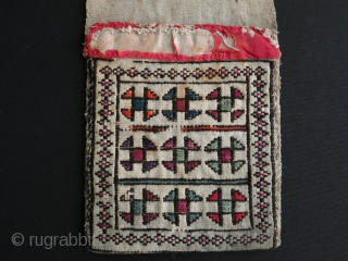 "Shahsavan small saddlebag. Some missing areas and stains, just as it is found. Size: 6"" x 18"" - 16cm x 47cm."