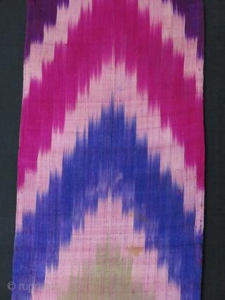 """Uzbekistan,silk adras ikat panels. Lined with printed and plain cotton. 45"""" X 14"""" -115 cm X36 cm // 48"""" X 11.5"""" - 121 cm X 30 cm."""