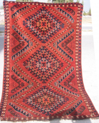 Central Asian Upper Amu Darya Turkmen Ersary rug. All wool and heavy rug. Has some small holes that restorers cannot repair because of needle breaking. It will survive for a long time.  ...