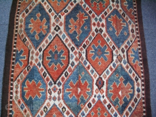 "Uzbek Julkur ikat design rug, very small prof. restorations. Four panels, Size: 47"" x 126"" - 120 cm x 302 cm."