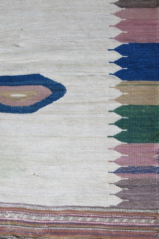 "Iran Komo sofreh, wool on cotton, natural colors.. Circa 1920- 30. Size: 45"" X 42""  - 115 cm X 106 cm"
