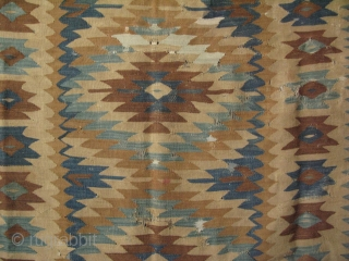 """Manastir kilim. It has some condition issues. Circa late 19th Century.  Some areas bright white color is cotton. Size: 59"""" x 87"""" - 150 cm x 220 cm."""