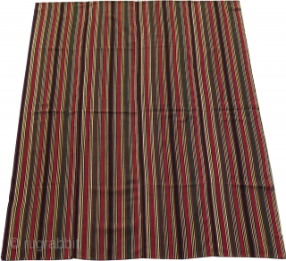 "Shahsavan finely woven silk Jajim. No holes and tears. All natural colors. Circa 1900s. Size: 50"" by 57"" - 127cm x 145cm."