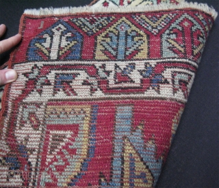 """Anatolian yastik. Great full pile, some minor restoration is done with old yarns.  Size: 22"""" x 40.5"""" - 56 cm x 103 cm."""
