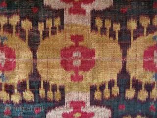 "Uzbekistan silk velvet ikat panel. Circa second half 19th. century. Size: 17"" x 45.5"" - 43cm x 116cm."
