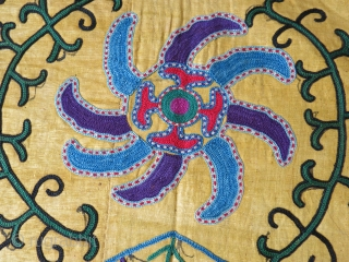 Uzbekistan – Shahrisabz – Lakai tribal antique Suzani. Fine Lakai chain stitch embroidery on yellow Adras plain IKAT. Overall, it is in great condition besides couple tiny pale stains. Pinwheels floating around  ...