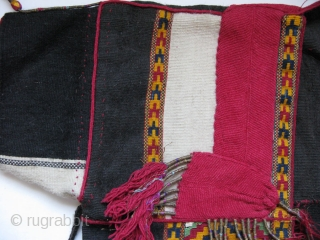 "Turkmen ceremonial vest from northern Iraq. Silk + wool flat weave and metallic + silk tassels. All natural colors. Size: Arm to arm 30"" height 17"" (77 cm x 44 cm)."
