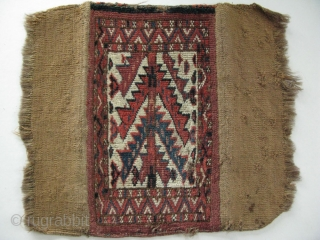 "Turkmen Yomud igsalyk. Camel hair backing. Size: 22cm x 38cm - 9"" x 15"" (As backing folded)."