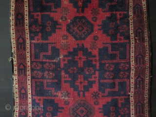 """Baluch small rug. Circa late 19th. century. Some low pile areas. Size: 37.4"""" x 50.4"""" - 95 cm x 128 cm."""