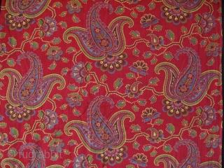 "Uzbekistan - Russian roller print cotton fragment. Circa 1920's. Size: 19"" x 33"" - 49cm x 84cm."
