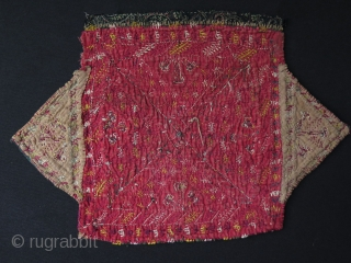"Turkmen camel trapping fragment. Fine silk embroidery. Size: 10.5"" x 16"" - 27 cm x 40 cm."