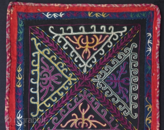 "Kirghiz hanging. Silk embroidery on banat. Size: 14"" x 25"" - 36 cm x 64 cm."