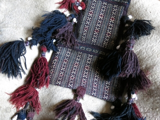 """Afghanistan - Baluch tribal salt bag. Both side fine weave with great saturated colors and long large traditional Baluch shelled tassels. Circa 1900 or earlier. Size : 18 1/2"""" X 12"""" -47  ..."""