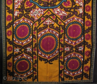"""Uzbekistan, Jizzak Suzane. It is made as a curtain. Traditional Jizzak Amulets on corners and embroidery in their style. Great condition and colors.  Size: 59"""" x 87"""" (150cm x 220cm)."""