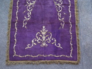 "Ottoman Bindalli Praying mat. Metallic embroidery on velvet. In very good condition. Size: 31.8"" x 53.9"" - 81 cm x 137 cm."