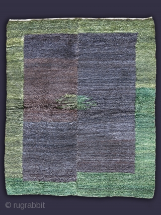 "Anatolian Konya minimalist looped Tulu rug, all angora wool, browns are natural wool, green is from natural dyes.. Size: 49"" X 41"" - 125 cm X 103 cm"