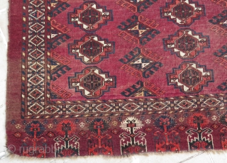 "Turkmen Ersari Kizilayak chuval. Camel hair wefts. Size: 37"" x 60"" - 96 cm x 154 cm."