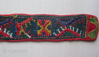 "West Uzbekistan Kungrat / Lakai woman's ceremonial felt belt. Wool embroidery on felt. saturated natural colors. Circa 1900 or earlier. Size: 4"" x 29.5"" - 11 cm x 75 cm."
