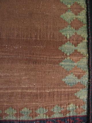 "Luri - Qashqai small kilim. Camel hair field. Size: 17"" x 23"" - 44cm x 58cm."
