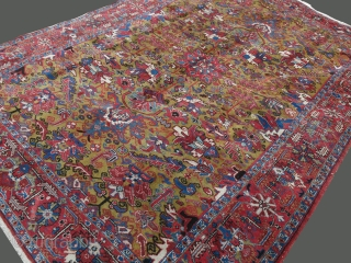 "HERIZ main rug. Overall design with mustard background. good pile. Circa 1900. size: 142"" X 100"" - 360 cm X 255 cm"