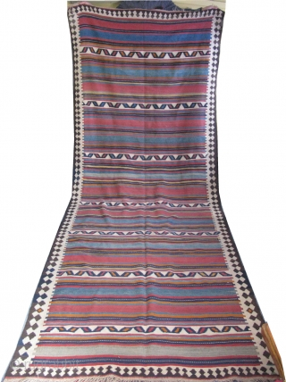 "Shahsevan long bedding pile cover kilim. Circa 1900 or earlier. All soft fine wool. Size: 61"" x 157"" - 156cm x 402cm."