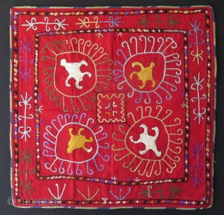 "Lakai aina khalta from Tajikistan. Silk embroidery on banat. Size:  23.5"" x 23.5"" - 60 cm x 60 cm."