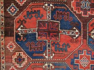 "Central Asian – Uzbekistan Karakalpak rug. Central area low pile, small repairs. Still has a long life to go. Size: 65"" x 150"" - 165 cm x 380 cm."
