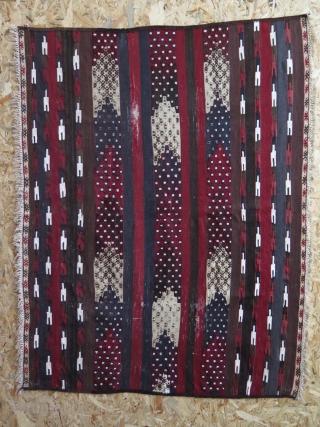 "Turkmen Small Kilim. Early 20th century. Some worn areas. Size: 37.5"" x 47.5"" - 96 cm x 124 cm."