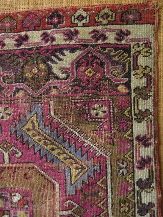 Anatolian Mudjur yastik. Circa late 19th c. Condition as it is found. Size: 23.5″ x 32″ – 60 cm x 81 cm.