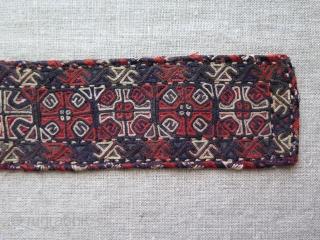 "Turkmen Yomud silk embroidered armband. Size: 2"" x 11.5"" - 5.5 cm x 29.5 cm."