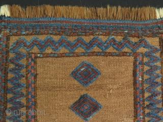 "Mini Persian kilim with camel hair ground. Size: 12"" x 15"" - 31 cm x 39 cm."