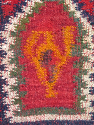 """Antique Balkan Sarkoy kilim, woven in three panels in design of 2-1-2. Strong saturated colors. One little stain about 2"""" x 2"""". Circa 1900 - 1920. Size: 66"""" x 98"""" - 167  ..."""