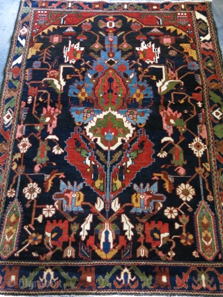 "Bakhtiari tribal rug with saturated colors. Circa 1900 - size - 76"" X 55"" - 193 cm X 140 cm."