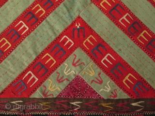 "Turkmen bag face or head wear fragment. Silk embroidery on broad cloth. Size: 17"" x 18"" - 43 cm x 46 cm."